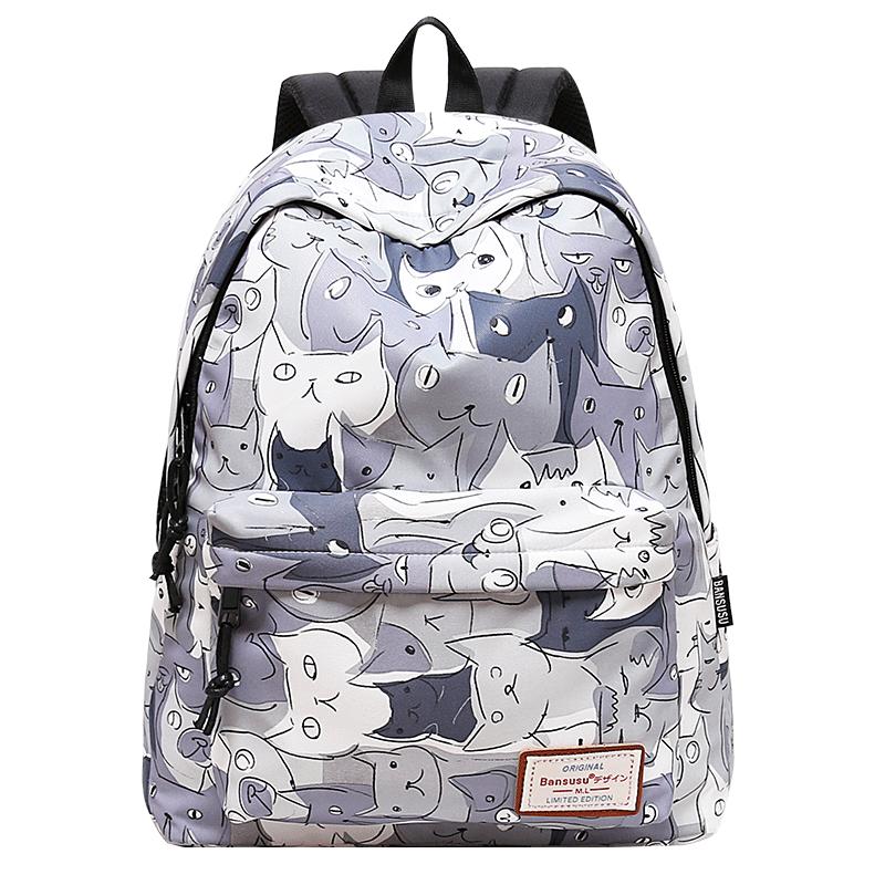 阪元宿宿猫咪印花双肩包女韩版休闲背包书包中学生大容量旅行包