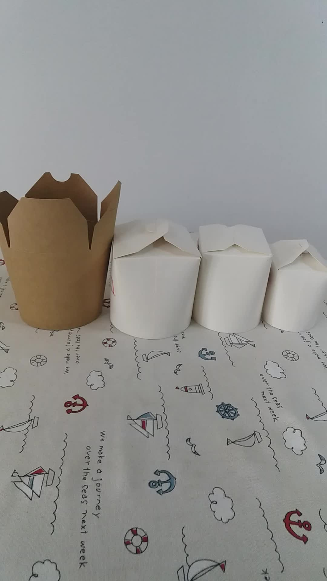 Cafe restaurant food packing container custom logo folding noodle meat take out box custom