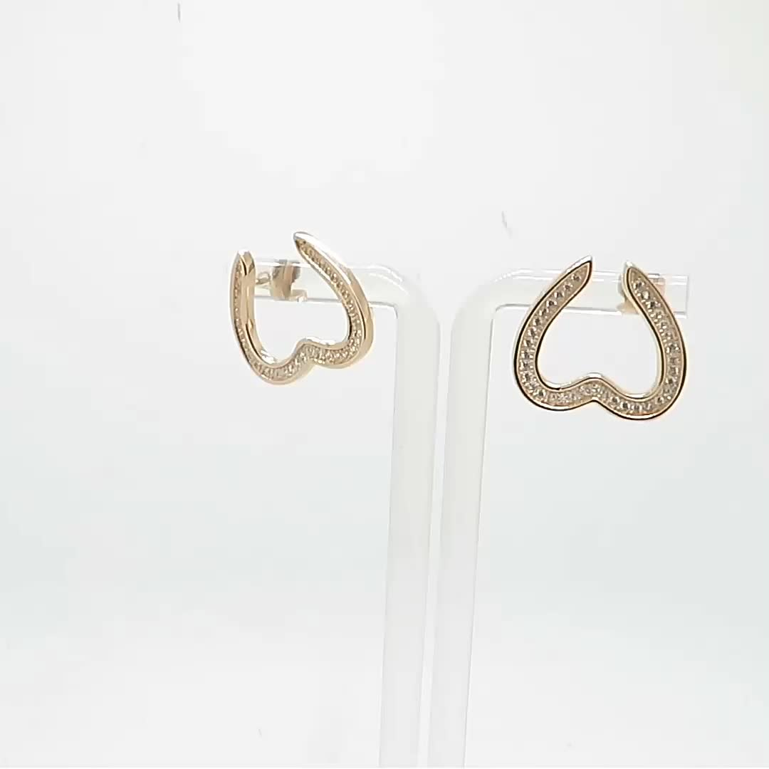 China Whole Women Zircon Setting Channel Heart Shaped Rose Gold Plated Pin Knot Stud Earring With