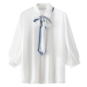 雪纺女面试ol蝴蝶结系带白色衬衫