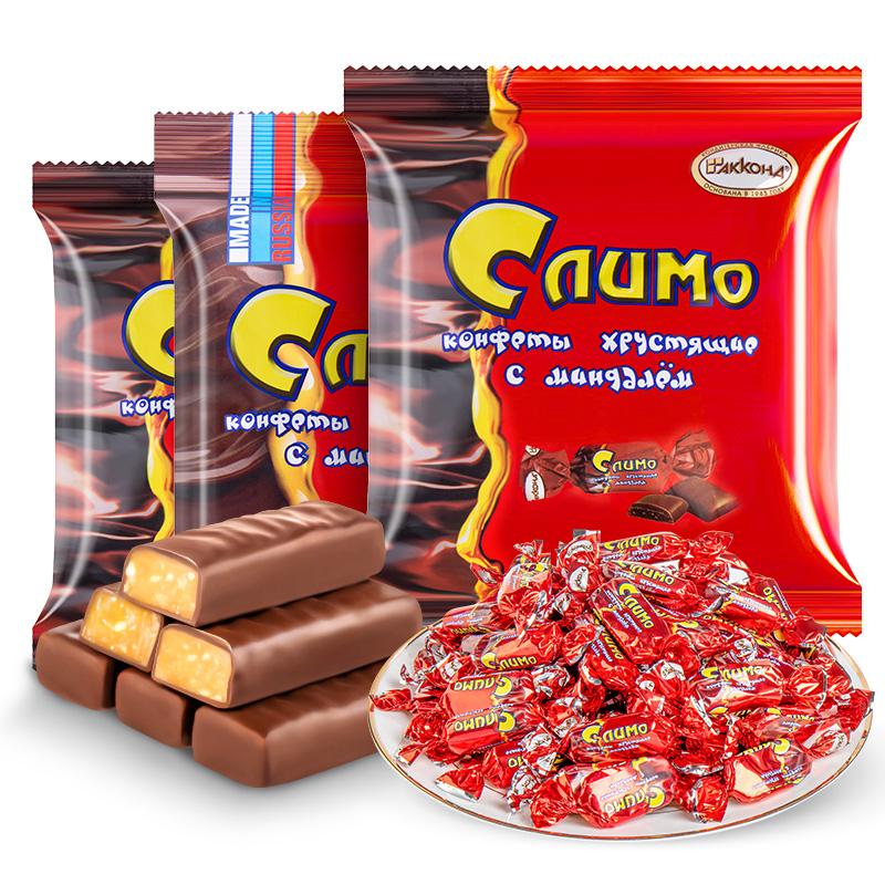 俄罗斯红皮糖正品进口原装阿孔特紫皮喜糖果夹心散装巧克力零食品