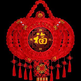 百绣红中国结挂件客厅大号桃木玄关