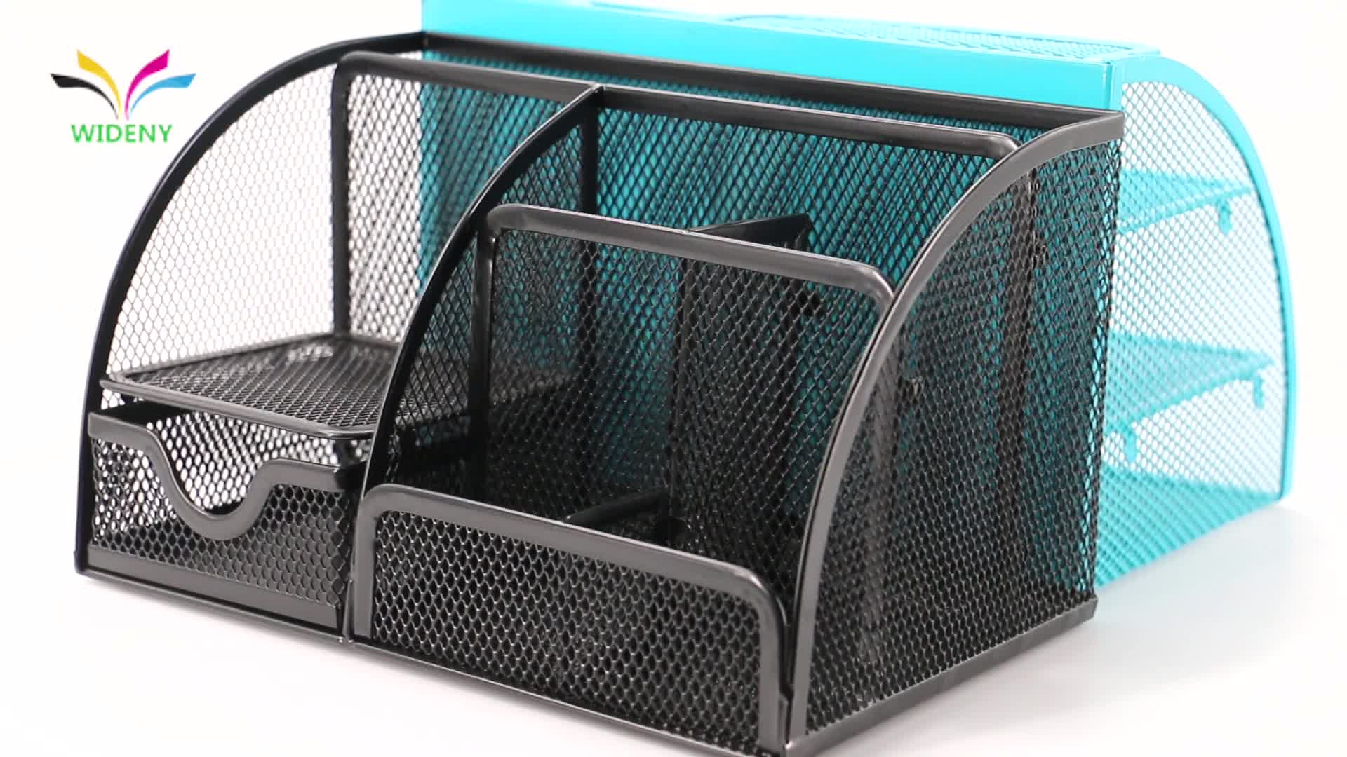 Blue 6 compartments metal mesh office desk metal organizer with drawer
