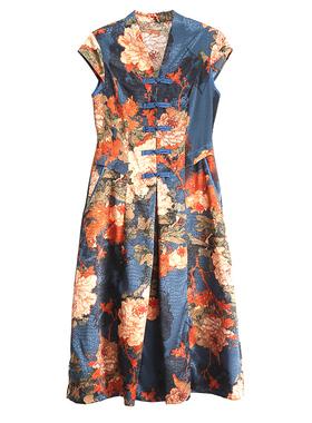 新款妈妈夏装洋气连衣裙中年女装短袖旗袍中老年唐装气质棉绸裙子