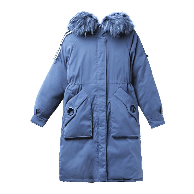 柏俏棉衣女中长款2020冬季新款韩版宽松大毛领加厚棉袄外套棉服