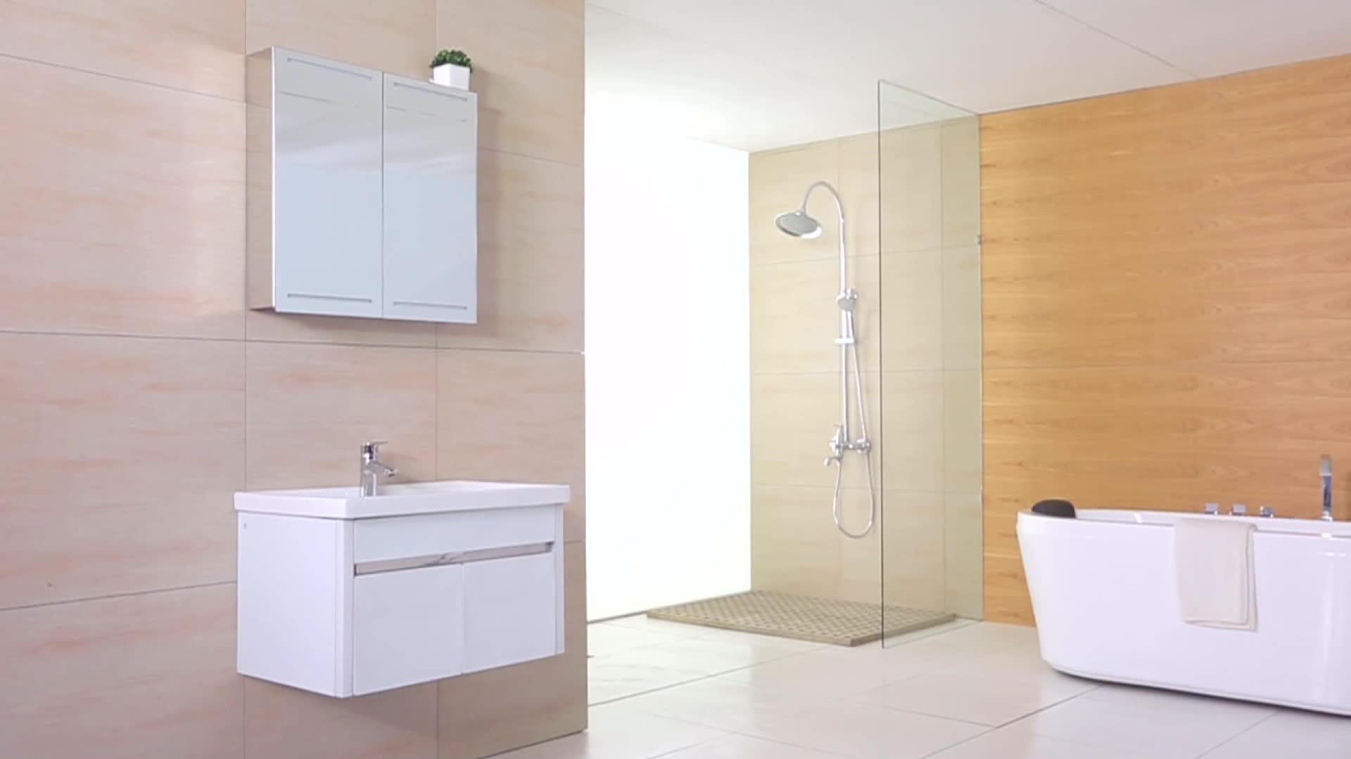 สไตล์โมเดิร์นสไตล์ยุโรปผนังติดตั้งห้องน้ำกระจกตู้โต๊ะเครื่องแป้งห้องน้ำ Light