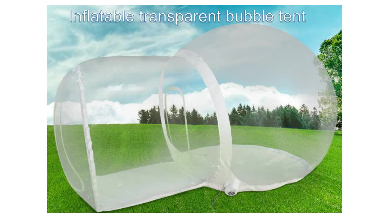 outdoor single tunnel transparent inflatable dome tent family