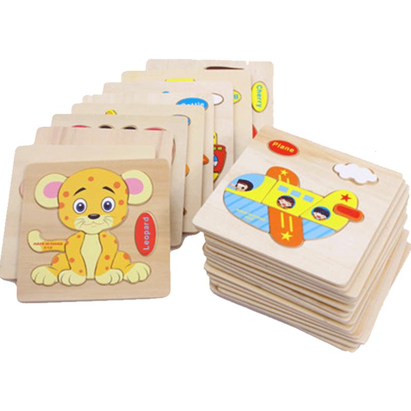【吉妮兔】男女孩宝宝立体木质小拼图4张