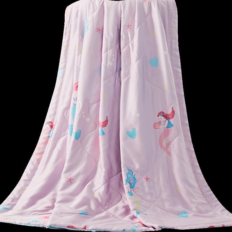 罗莱家纺蚕丝夏凉被薄款美人鱼真莱赛尔天丝空调被芯夏季儿童被子