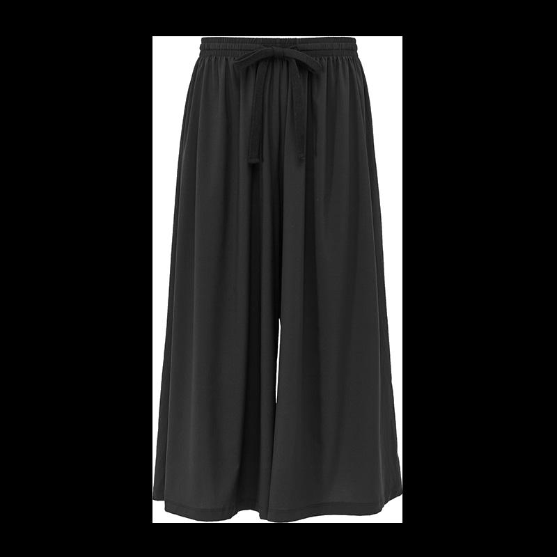 轻盈透气阔腿 动动嗒嗒商场同款透气阔腿裤女速干黑色休闲七分裤