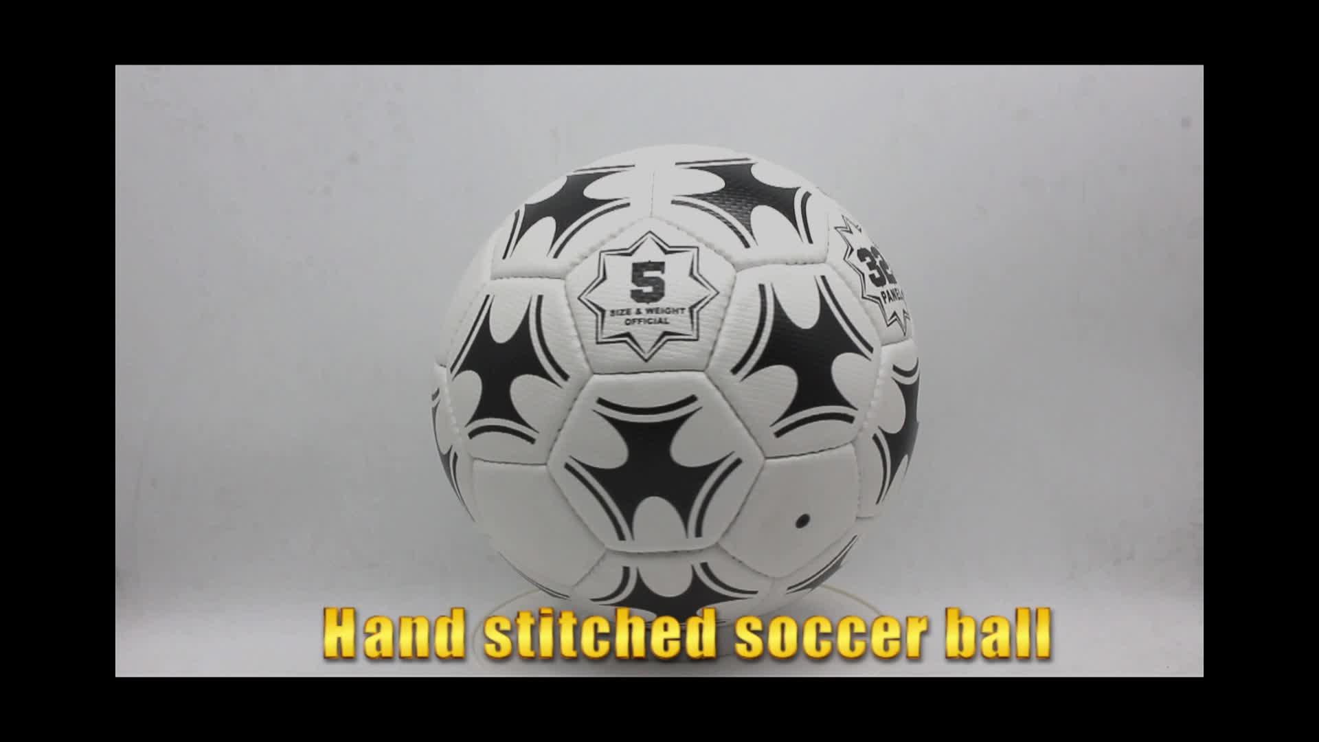 Hoge kwaliteit logo aangepaste pu hand gestikt voetbal