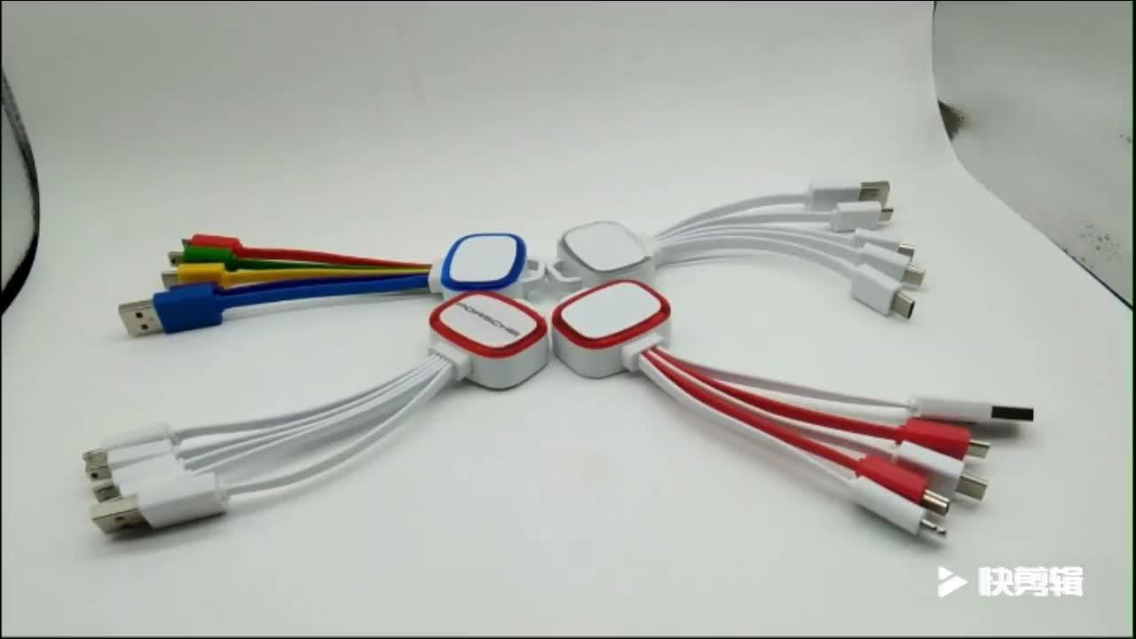 다채로운 빛 깜박이는 멀티 기능 평면 TPE 5 1 충전 마이크로 데이터 USB 케이블