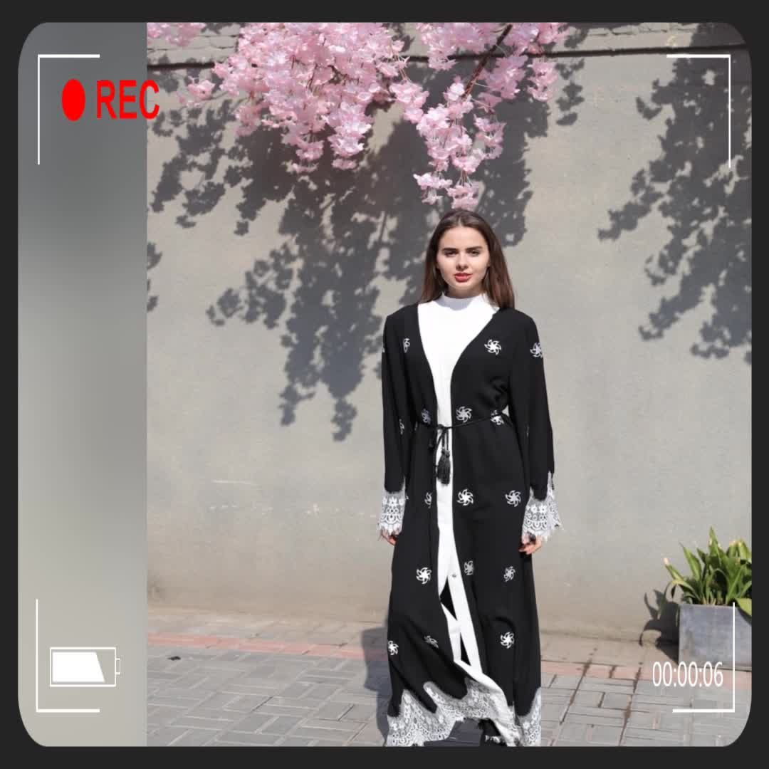 2018 Latest Lace Open Abaya Dress New Model Dubai Abaya Wholesale