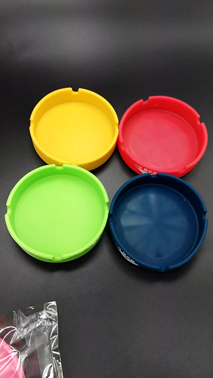 Mini Round Silicone Ashtray Cigar tray with Printing Logo.