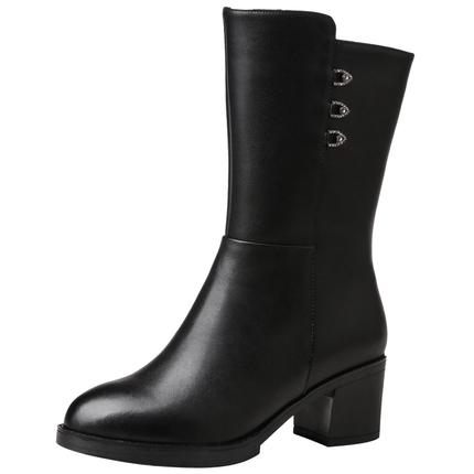 红蜻蜓冬季新款中筒靴粗跟真皮棉靴