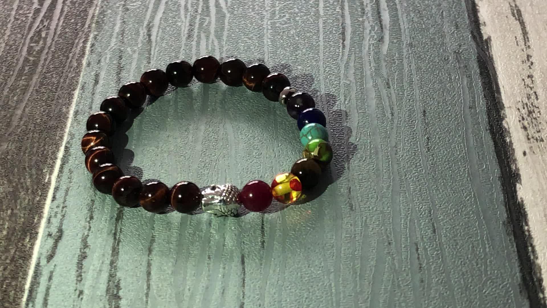 SN0923 chakra gemstones Bracelet For Unisex Red Tiger Eye Healing Buddhist Jewelry 7 Chakra Buddha Bracelet