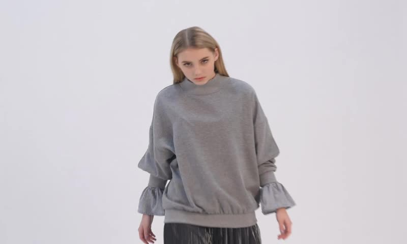 Women Chimney Collar Grey Hoodie Fake Two Pieces Dropped
