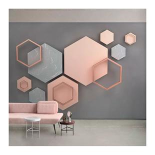 北歐電視背景牆壁紙3d幾何簡約現代裝飾牆紙壁畫客廳卧室影視牆布