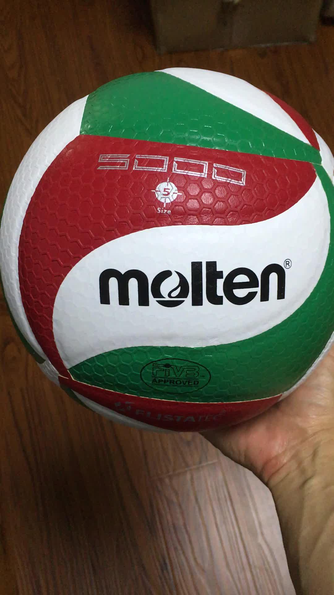 8550a2882346d Pelota de voleibol fundido 5000 microfibra PU mejor calidad 18 paneles  laminado interior voleibol fundido 5000V5M