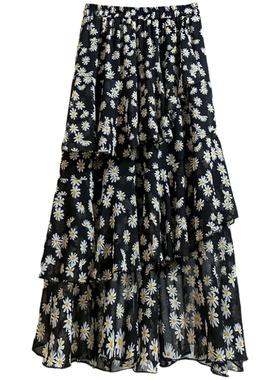 雪纺碎花半身裙女夏中长款半裙2021新款裙子蛋糕花裙长裙夏季薄款