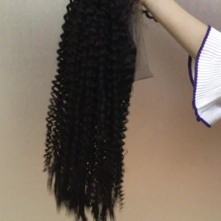 Afro Kinky Curly Full Lace Wig,  Pre Plucked Natural Looking Hairline 130% Density Swiss Lace Wigs with Baby Hair