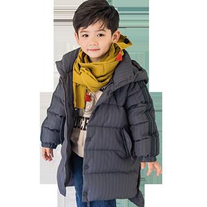康衣儿中小童男童条纹中长款羽绒服