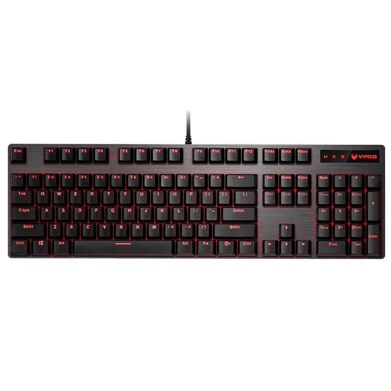 雷柏V580 光轴机械键盘 金属背光104键全键无冲防水网吧吃鸡LOL绝