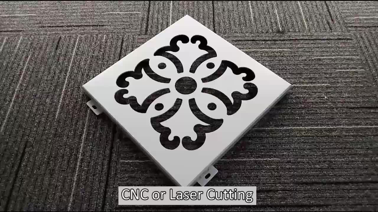 Fluorocarbon Spraying Cnc Carving Aluminum Facade Laser Cut Ceiling Panel