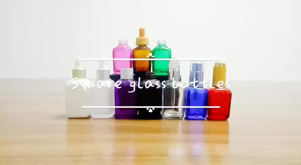 100ml pearl white french square glass dropper bottle for cosmetic container
