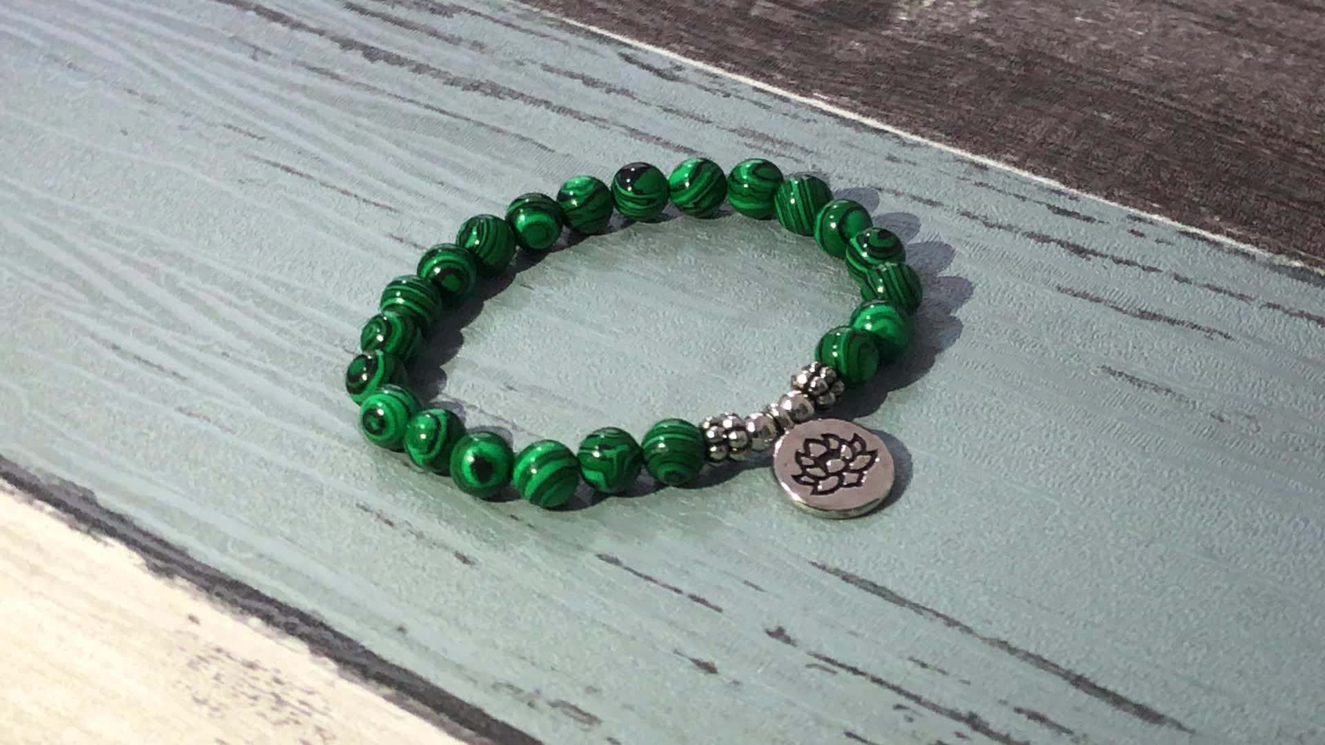 SN1538 Newest Women Healing Meditation Boho Wrist Mala Lotus Jewelry 8mm Pink Moonstone OM Bracelet for Ladies