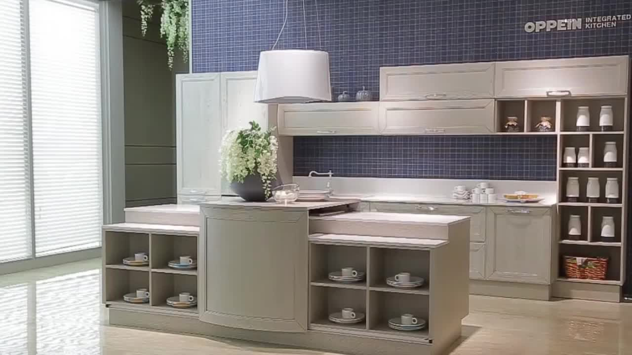 2018 OPPEIN Solid Wood Italy Kitchen Cabinet Luxury Series Cabinets Manufacture