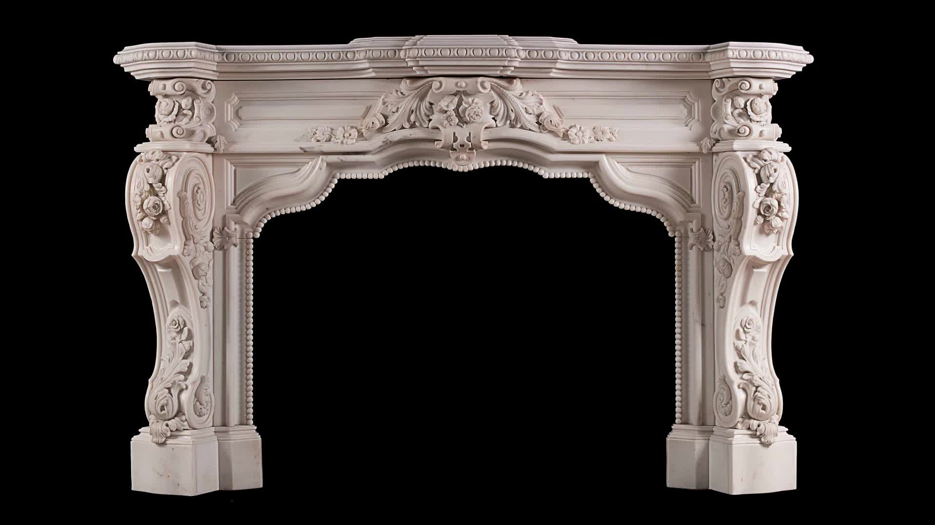 Chinese white marble freestanding fireplace surround mantel