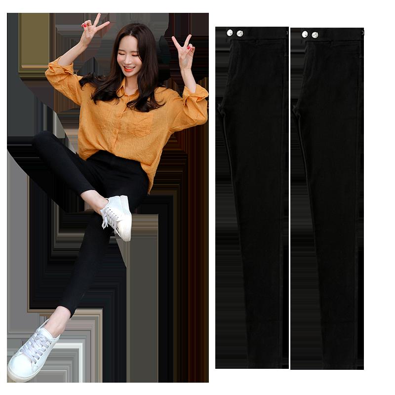 黑色打底裤女外穿夏季魔术小脚高腰铅笔黑裤2020新款九分薄款显瘦