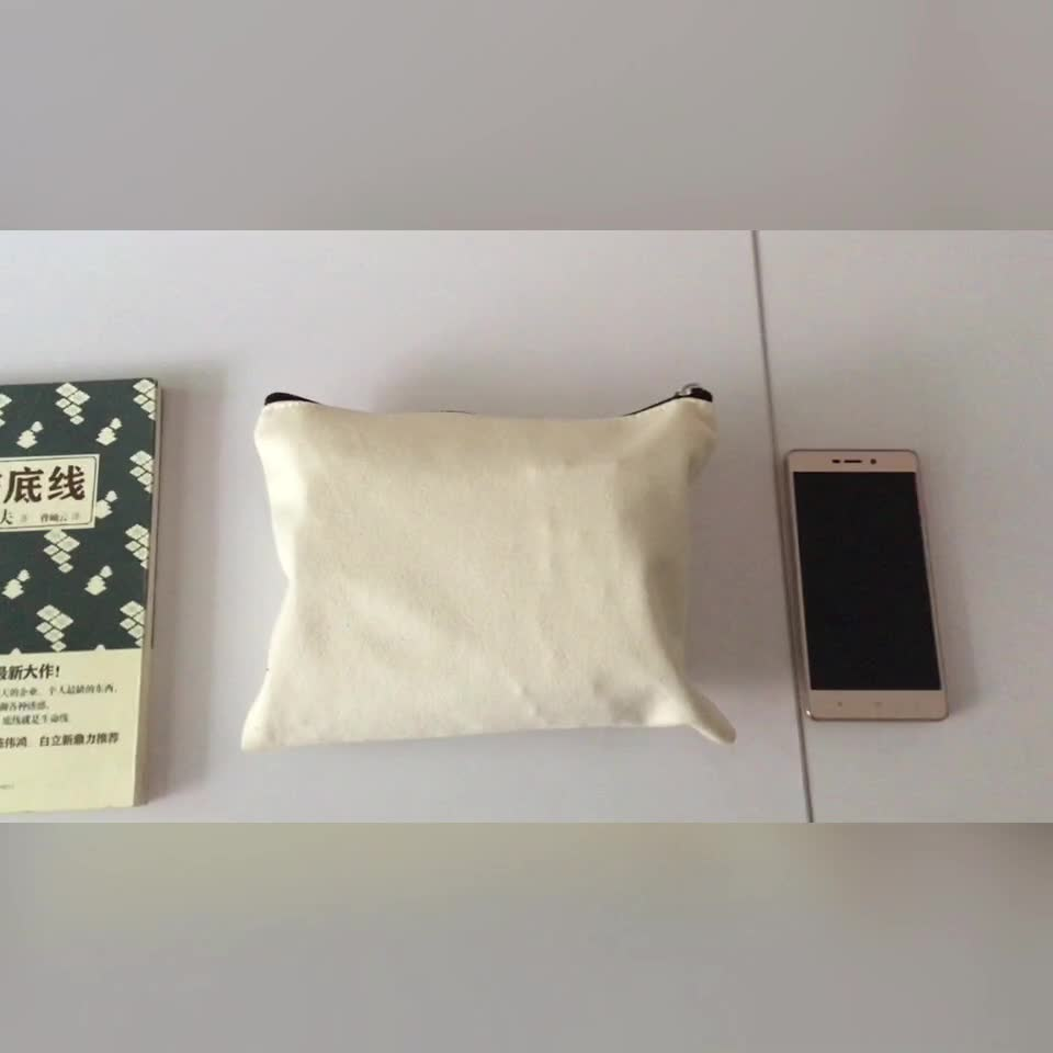 Custom size 9*7inch 12oz natural beige canvas cosmetic pouch bag with customized black zipper tape silver pull head