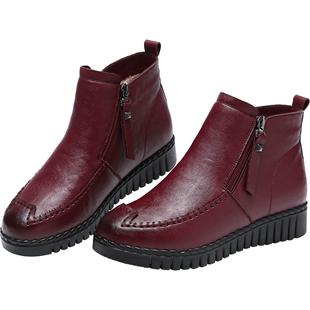妈妈鞋软底冬季雪地中年加绒短靴
