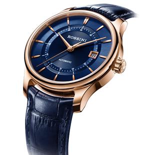 罗西尼手表男机械表皮带休闲手表