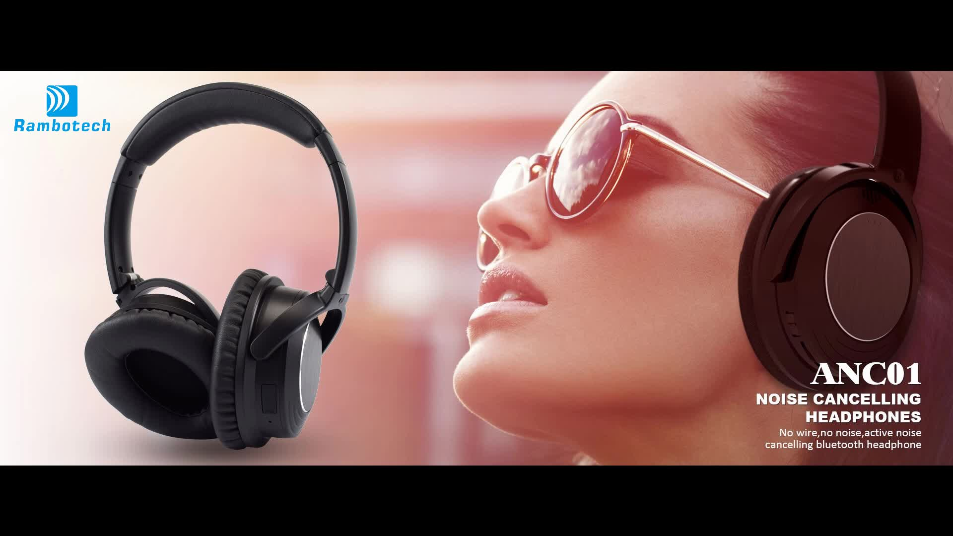 Active Noise Cancelling Over Ear Wireless Headphone ANC01 Bluetooth Hands-free Headset Studio Earphones for mobile