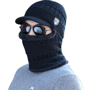 男冬天围脖一体加厚男帽加绒毛线帽