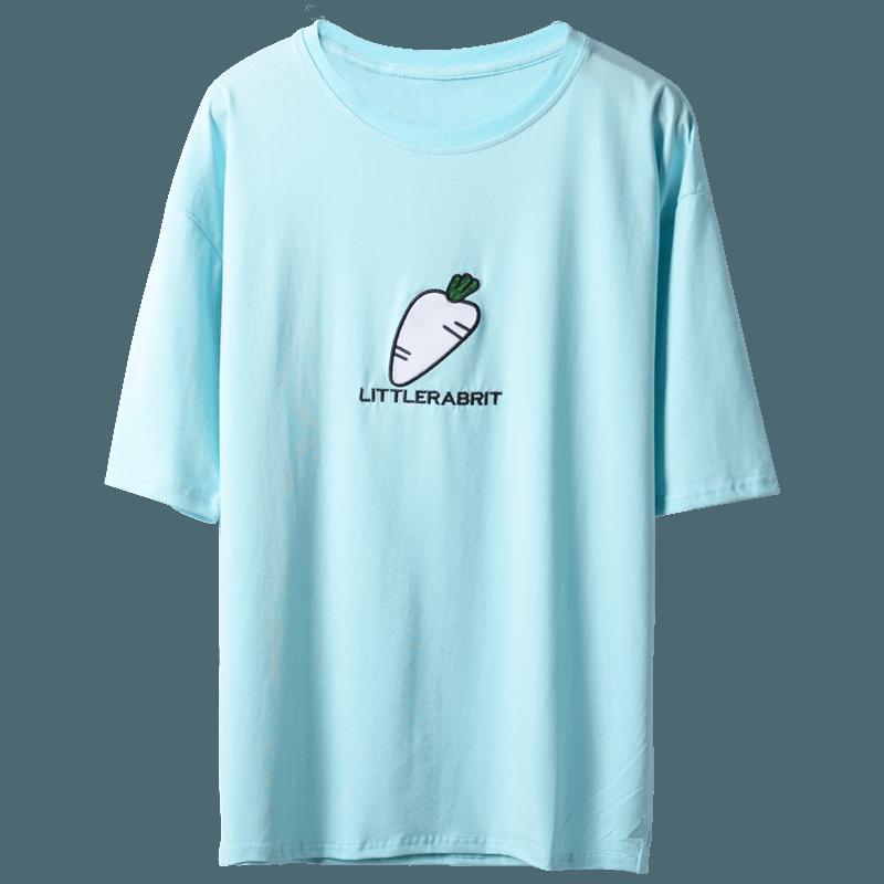 韩版男短袖T恤小清新宽松五分半袖原宿风蝙蝠袖衫夏七分袖情侣装