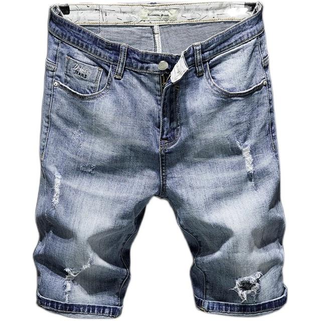 牛仔短裤男五分裤潮修身韩版破洞5分中裤浅蓝弹力薄款休闲马裤子