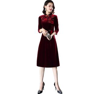 改良版刺繡絲絨新款媽媽旗袍胖彈力繡花中年中袖秋冬短款冬款氣質