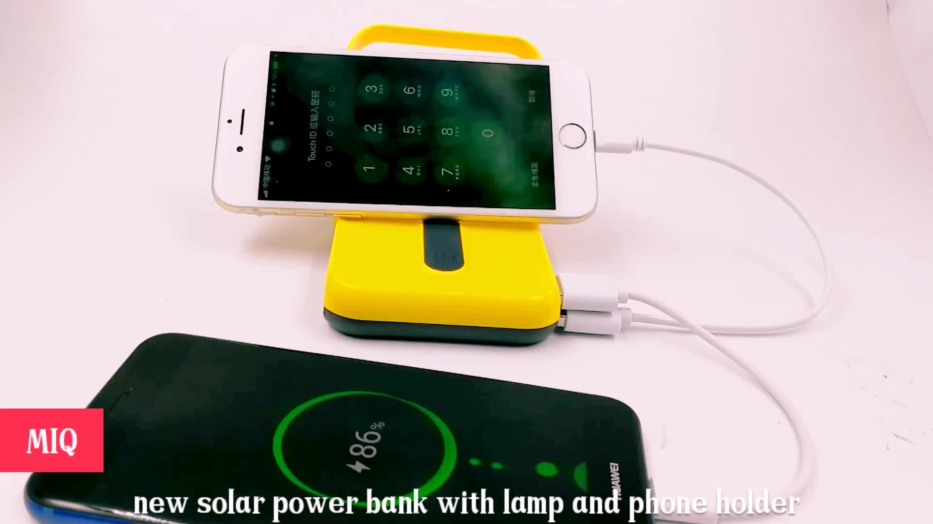 MIQ 10000 mAh Solar Power Bank Powerbank External Battery Portable Charger LED Light Hanger for Xiaomi for iPhone
