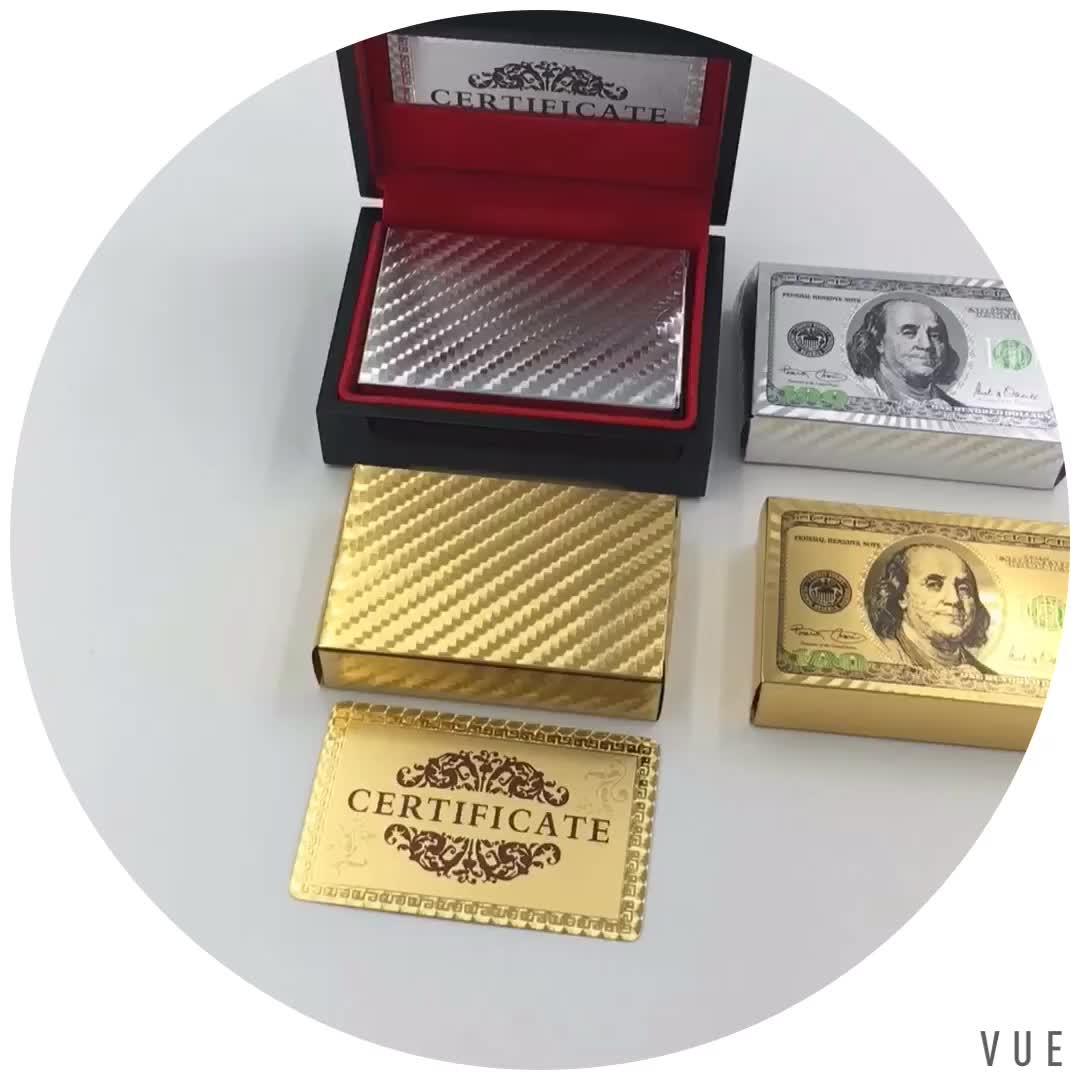 À prova d' água 100 USD Dólar Projeto 24 k Ouro Jogando Cartas de Poker para o jogo novo jogo de diversão