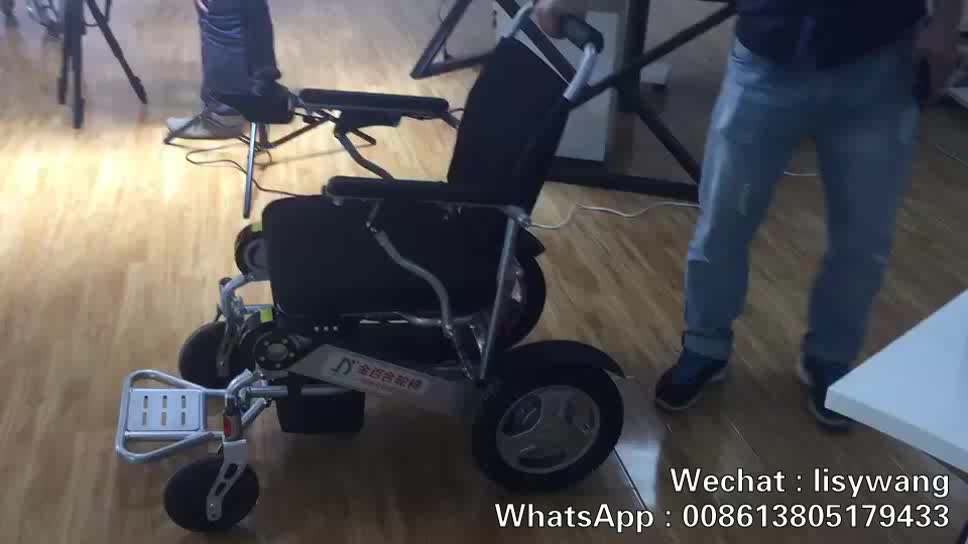 2017 New Product CE FDA Lightweight Portable Travel Aluminum Folding Lithium Battery Power Electric Wheelchair