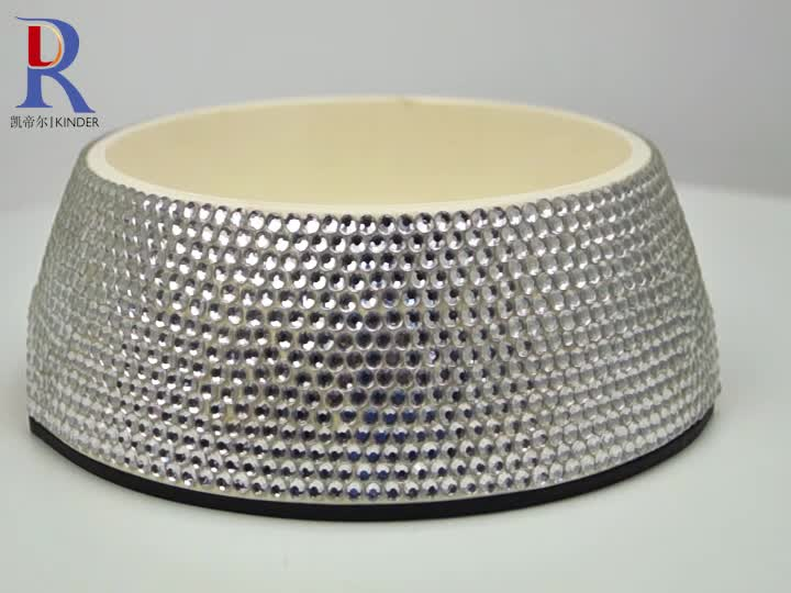 High class bling bling jewelry embellished dog water bowls travel stainless steel pet feeding bowl