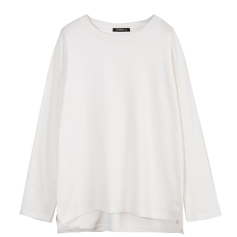 2021白色女长袖纯棉宽松早春潮t恤质量如何