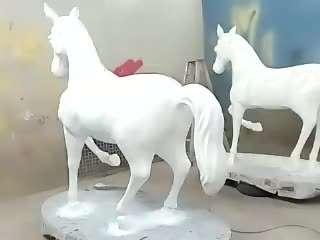 Outdoor sculpture garden ornaments Hand carving fiberglass horse statue