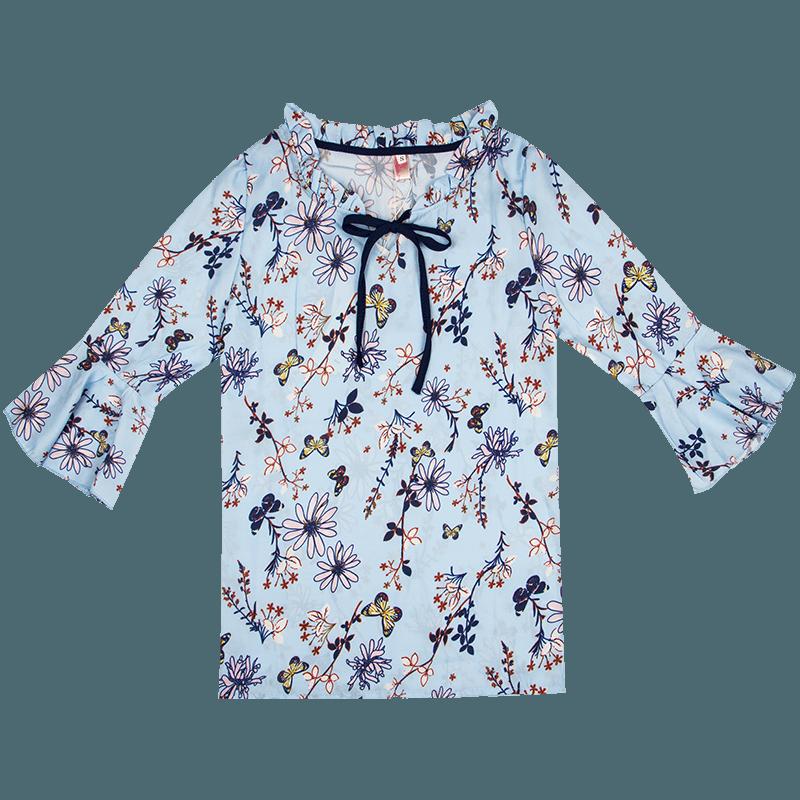 雪纺衫女短袖2019夏装新款甜美喇叭袖碎花宽松印花小衬衫上衣服女