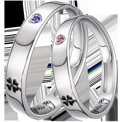 四叶草情侣戒指女对戒纯银一对情侣款叹息桥之吻银戒指男七夕礼物
