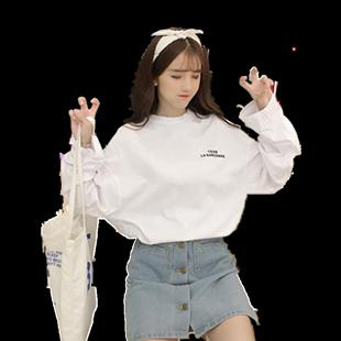 春秋裝韓版ins潮中長款上衣長袖女打底衫學生寬鬆超火cec白色T恤